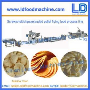 Screw/shell/chips/extruded pellet frying food process line manufacturer